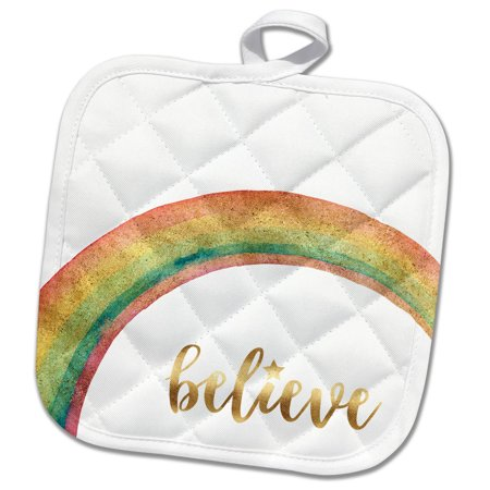 3dRose Image of Gold Believe Star Rainbow - Pot Holder, 8 by 8-inch](Rainbow And Pot Of Gold)