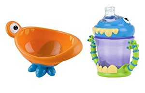 Nuby Monster Feeding Bowl & 2 Handle Training Cup by Nuby