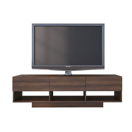 - Nexera Rustik 60 inch 3 Drawer TV Stand, Walnut
