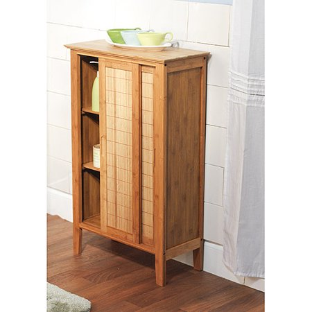 Floor cabinet with sliding doors bamboo for Bamboo kitchen cabinets reviews