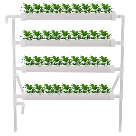 VEVOR Hydroponic Site Grow Kit 4 Layers 36 Plant Sites 4 Pipes Water Culture Garden Plant System (36Plant Sites, 4