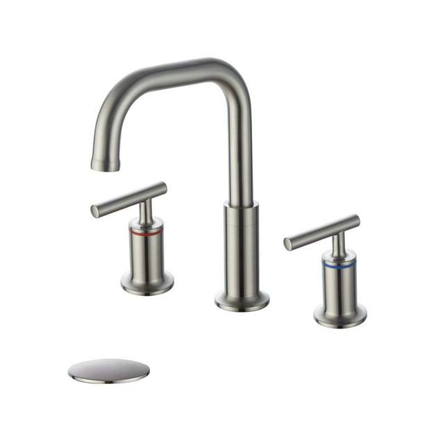 Homelody Widespread Bathroom Faucet Brushed Nickel 360 Degree Swivel Spout 2 Handles 8 Inch Bathroom Sink Faucet With Pop Up Drain Walmart Com Walmart Com