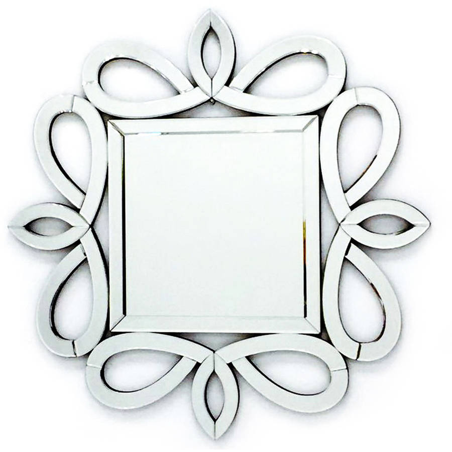 Fab Glass and Mirror THE KENSINGTON Stylish Frame Square Wall Decorative Mirror
