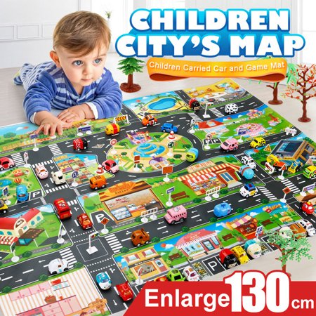 Iuhan Kids Play Mat City Road Buildings Parking Map Game Scene Map Educational - Educational Mat