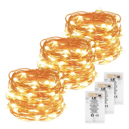 60 Led Decoration (Lighting EVER 60 LEDs String Light, Warm White, LED Battery Compartment Copper Lamp, Party Christmas Decoration, Pack of 3 Units )