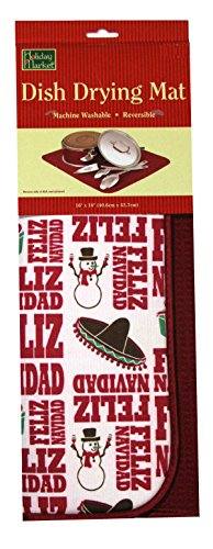 Christmas Kittens - Reversible Side Red Reversible Holiday Dish Drying Mat Christmas Dish Drying Mat with Custom Holiday Magnet 15 by 20