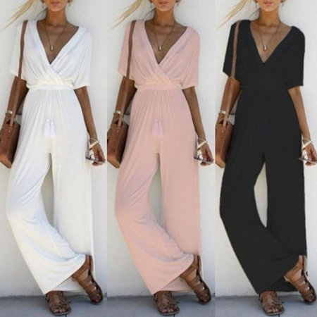 Sexy Women V Neck Short Sleeve Jumpsuit Ladies Summer Casual Loose Playsuit ()