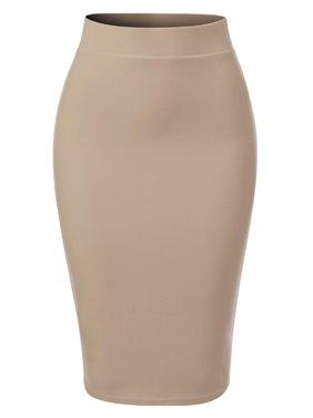 MixMatchy Women's Casual Classic Bodycon Pencil Skirt Royal Blue XL