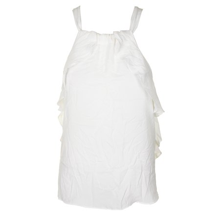 Max Studio London Winter White Sleeveless Ruffled Tie-Neck Halter Blouse XS