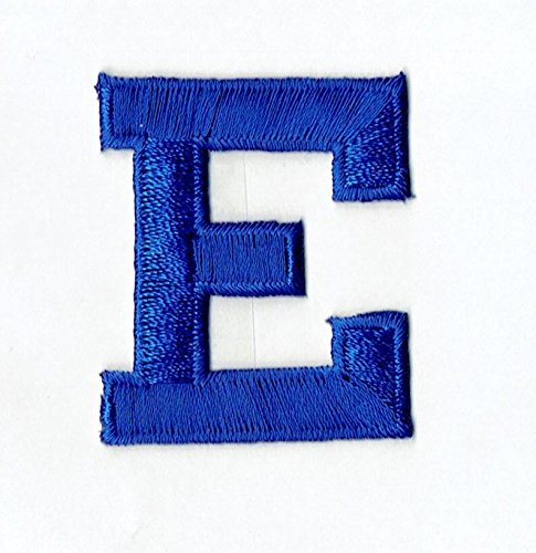 "Alphabet Letter - E - Color Royal Blue - 2"" Block Style - Iron On Embroidered Applique Patch"