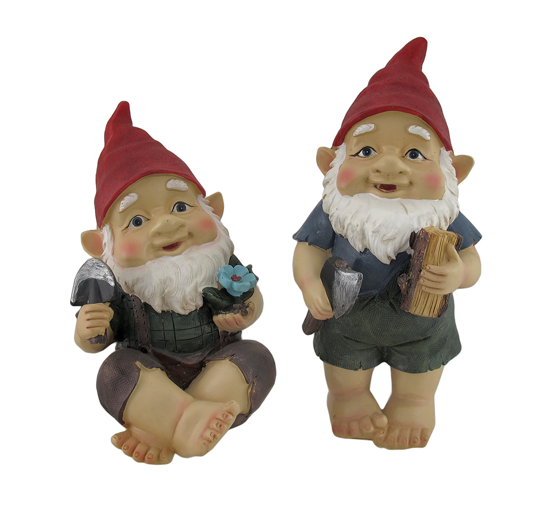 Set of 2 Standing and Sitting Shoeless Garden Gnome Statues by Mayrich Company