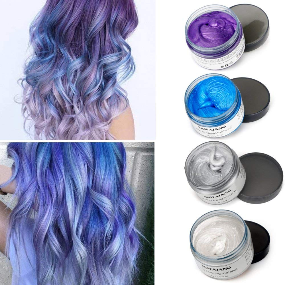 Mofajang Hair Wax 4 Colors Kit Temporary Hair Color Easy to Rinse Out Hair Coloring Mud Dye Cream - Gray, Blue, White, Purple