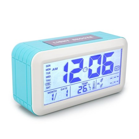 Tsumbay Digital Alarm Clock Thermometer Calendar with Auto Dimmer Night Back light Snooze Function , 3 Workday Alarm Modes,Time Week Date Temperature Display Monitor (Halloween Horror Nights Date And Times)