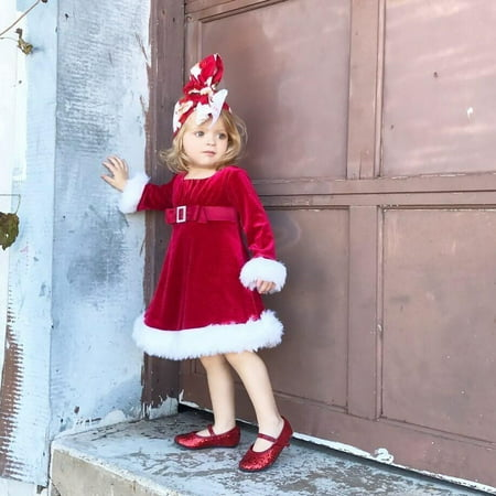 Christmas Costumes For Girls (Kids Girls Christmas Round Neck Santa Costume Swing Dress with)