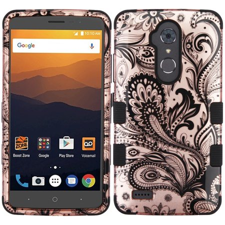 ZTE Max XL phone case, ZTE Blade Max 3 case, by Insten Phoenix Flower TUFF Hybrid Dual Layer Hard Plastic / TPU Rubber Case Cover For ZTE Blade Max 3 / Max XL N9560 - Rose Gold/Black