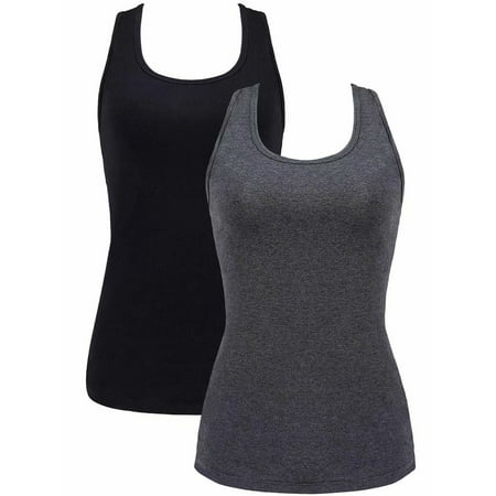 Charmo Women's Active Cami Cotton Camisole Racerback Tank Tops Ladies Undershirts, 2 Pack