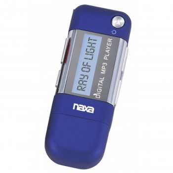 Naxa MP3 Player with 4GB Built-in Flash Memory, LCD Display and Built-in USB Plug Adaptor-Blue