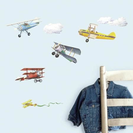 VINTAGE AIRPLANES WALL DECALS 22 New Planes Stickers Boys Room Decor