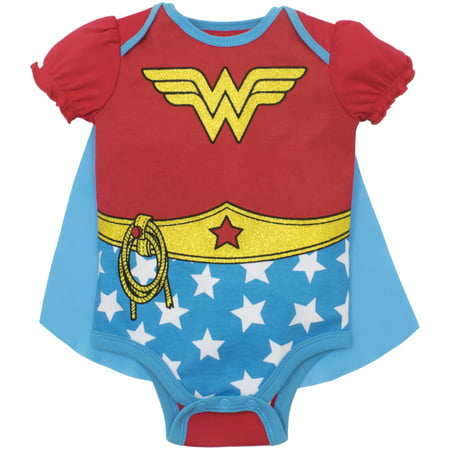 Wonder Woman Baby Girls' Costume Bodysuit with Cape (Red, 6-12 Months)