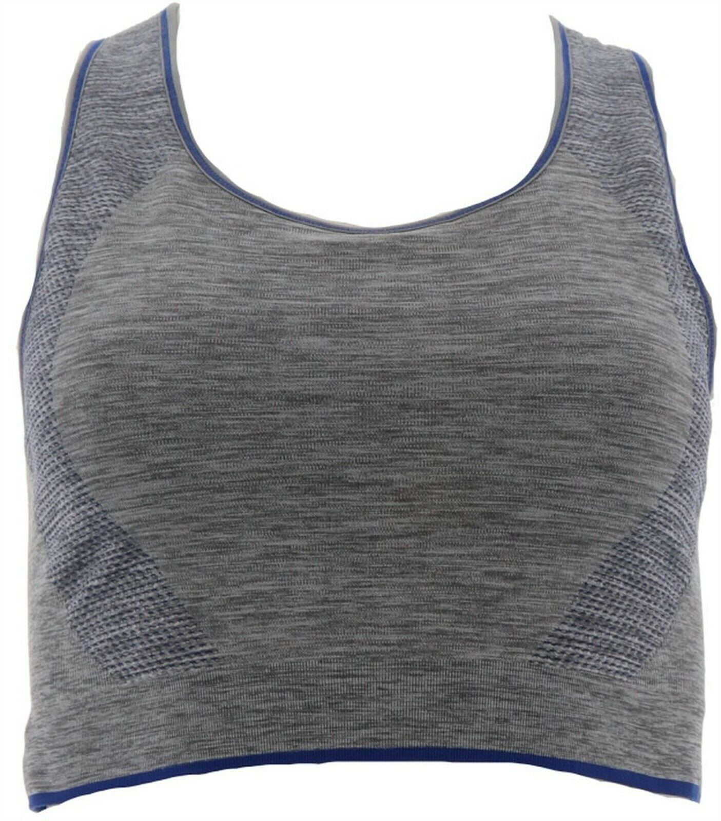 Tracy Anderson GILI Seamless Reversible Sports Bra Grey Deep Blue 3X NEW A308066