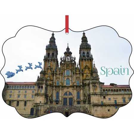Santa Klaus and Sleigh Riding Over The Cathedral of Santiago de Compostela Spain Elegant Aluminum SemiGloss Christmas Ornament Tree Decoration - Unique Modern Novelty Tree Décor Favors