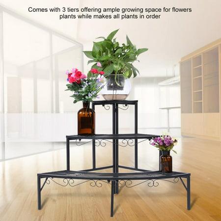 WALFRONT 3-Tier Black Color Plant Stand Corner Shelf Metal Flower Pot Storage Rack Garden Display Holder, Corner Stand, Plant Corner Stand ()