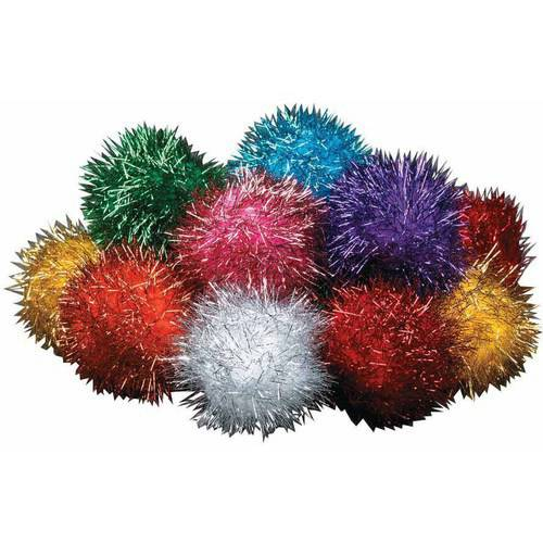 "Chenille Kraft Glitter Pom, 2"", Assorted Colors, Pack of 16"