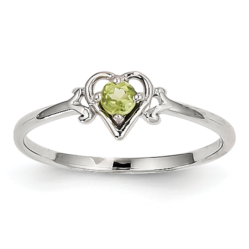 14K White Gold Peridot Birthstone Heart Ring by CoutureJewelers