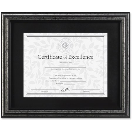 DAX Document Frame, Desk/Wall, Wood, 11 x 14, Antique Charcoal Brushed - Antique Gilded Frames