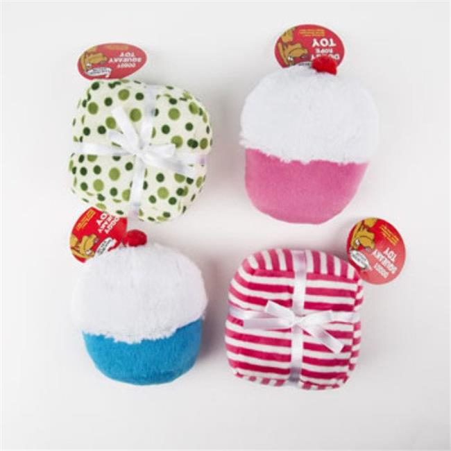 DDI 2324899 Plush Cupcake or Present Squeaker Dog Toy, Assorted Color - Case of 60 - 60 Per Pack