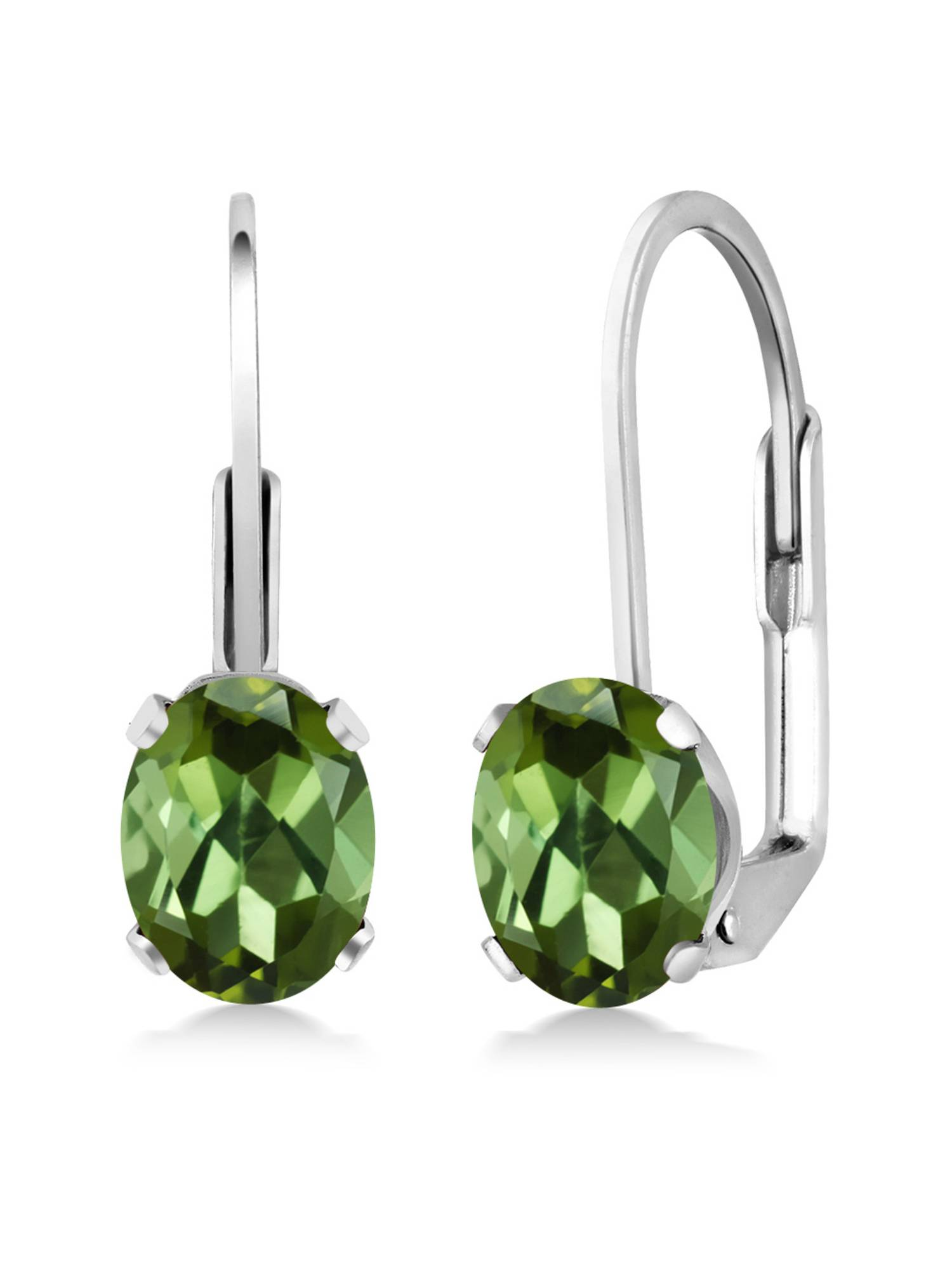 1.70 Ct Oval Green Tourmaline 925 Sterling Silver Leverback leverback earrings by