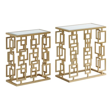 Maddox Rectangle Champagne Metal and Mirror Set of Tables ()