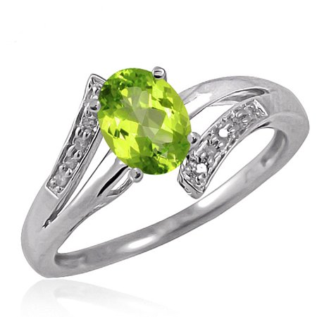 (JewelersClub 0.82 Carat T.G.W. Peridot Gemstone and 1/20 Carat White Diamond Ring)