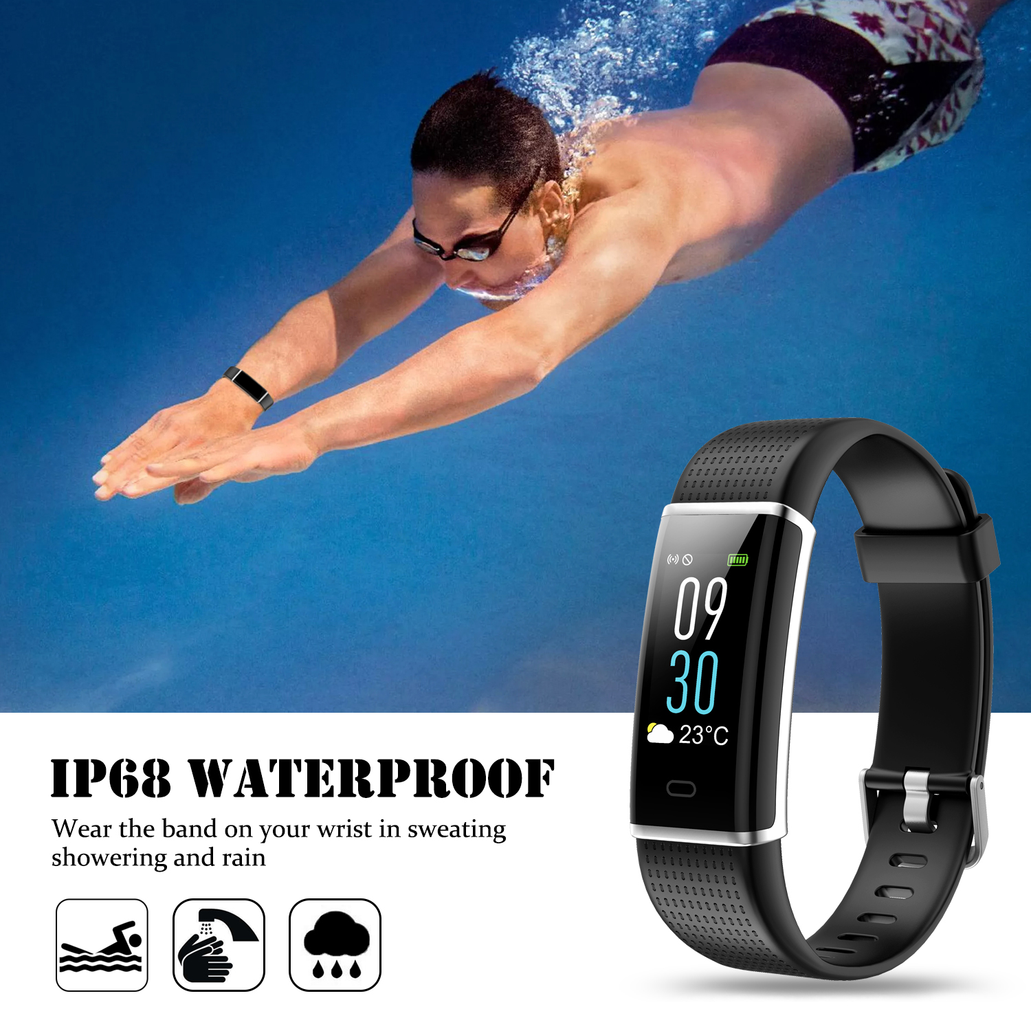 Aspectek Fitness Tracker, Activity Tracker IP68 Waterproof Fitness Watch Heart Rate Monitor Colorful OLED Screen Smart Watch with Sleep Monitor Step Counter Reminder Pedometer for Android&iOS