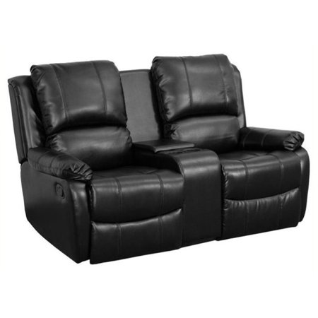 Bowery Hill 2 Seat Home Theater Recliner in Black Connector Home Theater Seat