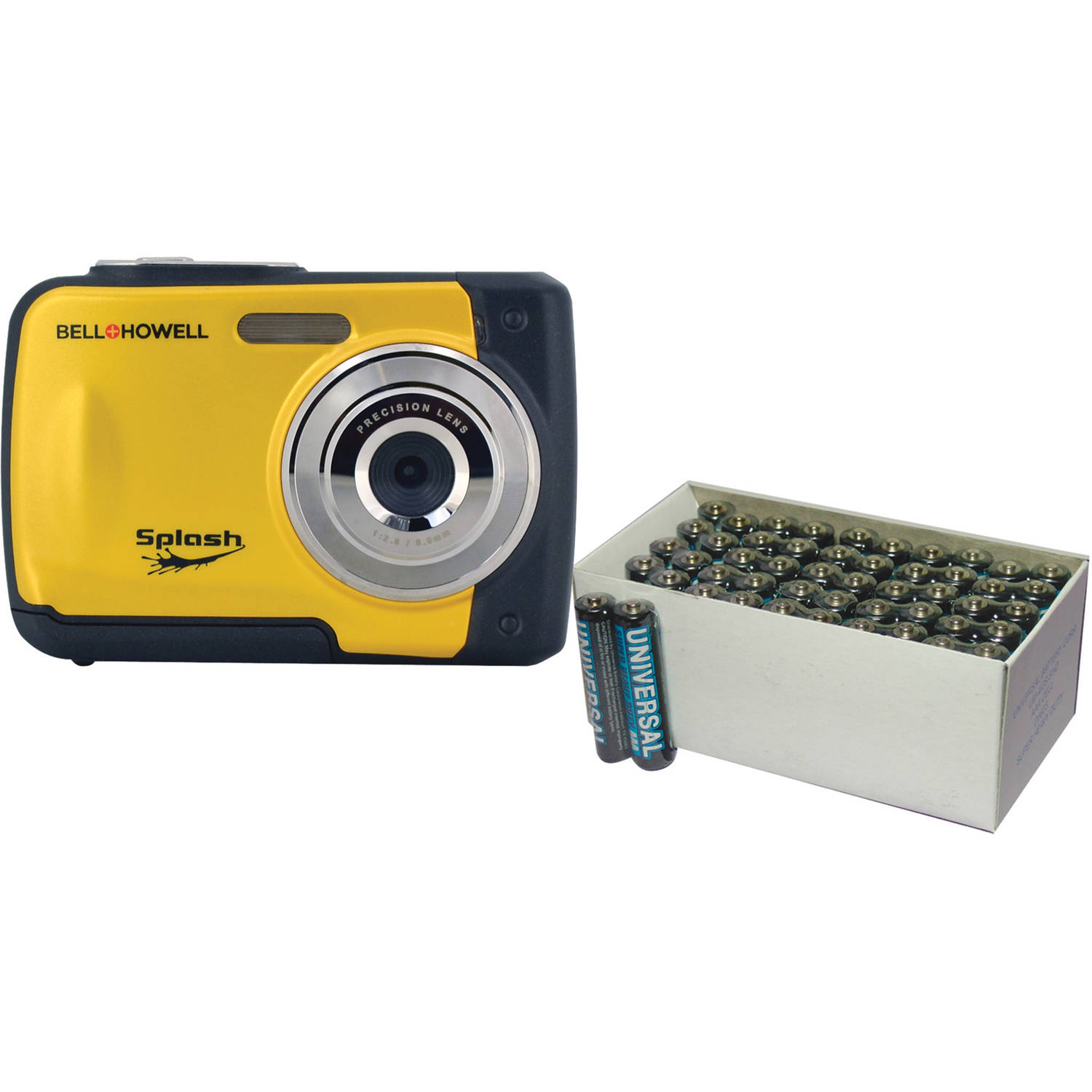 Bell+Howell Yellow WP10 Waterproof Digital Camera with 12 Megapixels and UPG 50-Pack AAA Batteries