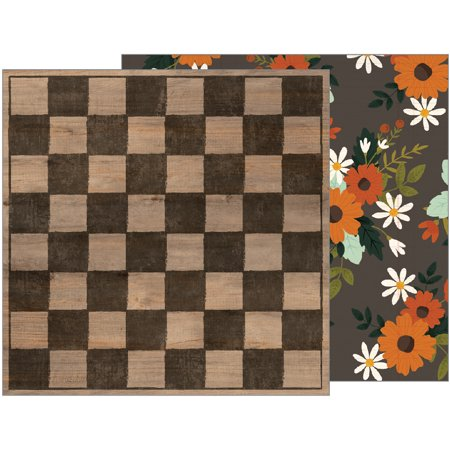 American Craft Pebbles Warm And Cozy Collection 12 X 12 Double Sided Paper Checkerboard (Checkered Paper)