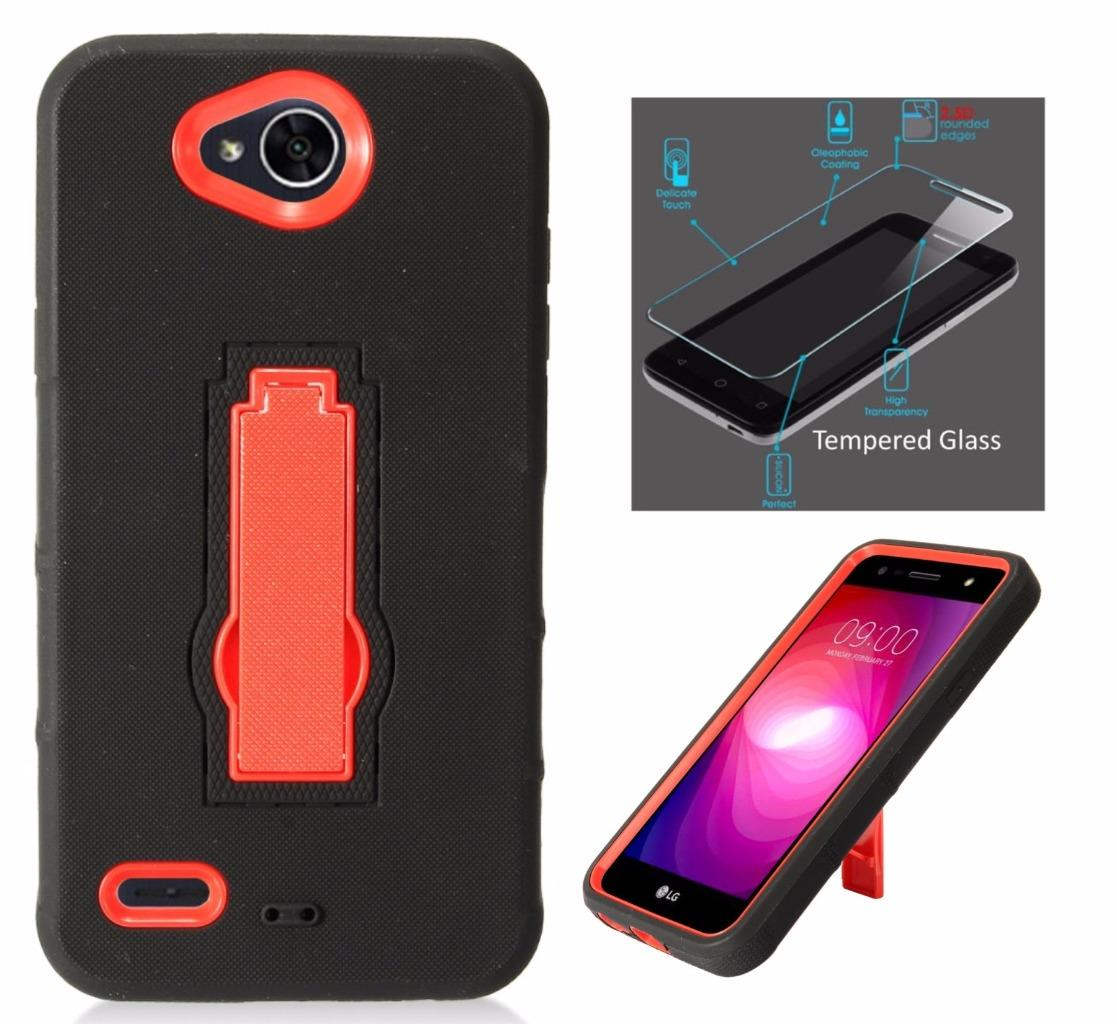 For LG X Power 2 Case (2017) / LG Fiesta LTE Case / LG K10 Power Case / LV7 + Tempered Glass Symbiosis Armor Hybrid Silicone Phone Cover Hard Plastic w/ Stand (Red/Black)