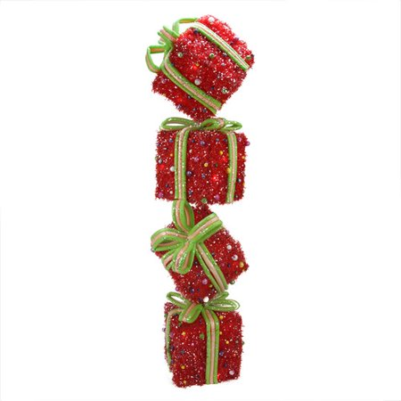 - Northlight Seasonal Sparkling Red Tinsel Candy Gift Box Tower Christmas Decoration