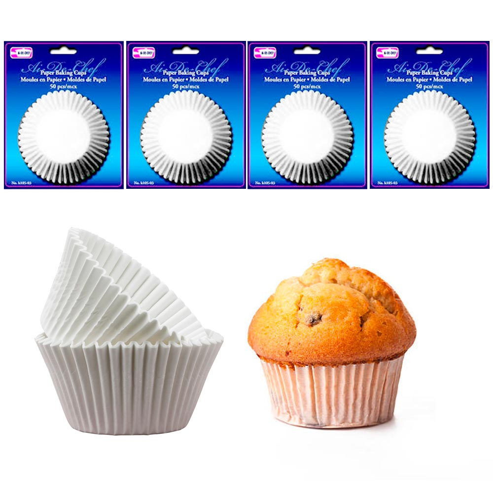 200 Pc Paper Baking Cups Molds Cupcake Muffin Parchment Liners Bake Party White by Symak Sales