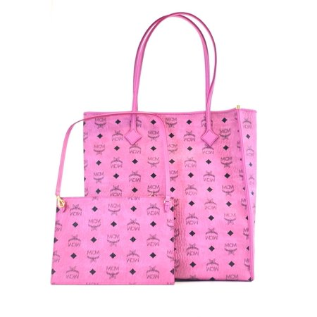 BRAND NEW WOMENS MCM KIRA PINK VISETOS MONOGRAM NORTH SOUTH SHOPPER TOTE BAG (Tall Tote Shopper)
