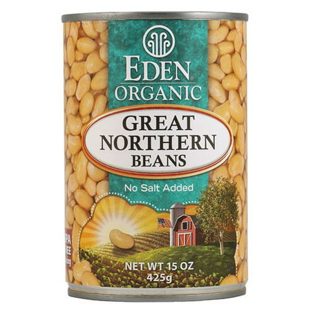 (6 Pack) Eden Organic Great Northern Beans, No Salt Added, 15