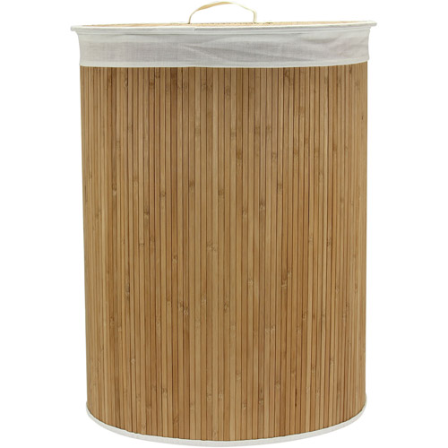 Household Essentials Oval Natural Hamper with Bamboo Accents by Household Essentials