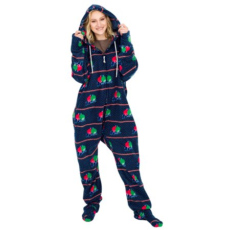Balls Ugly Christmas Lazy Black Pajama Suit with Hood - Cheap Plus Size Onesies