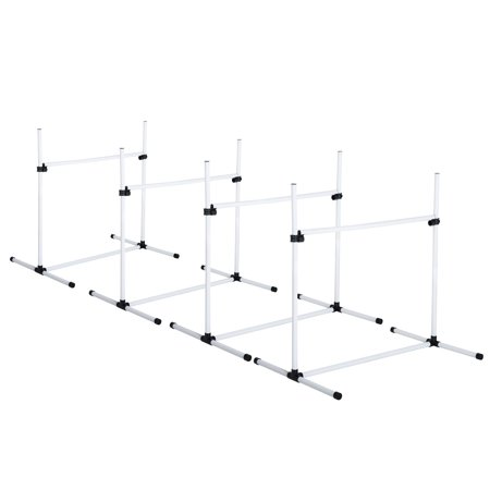 PawHut Adjustable Dog Training Agility Jump Bar w/ Carrying Bag - Set of 4 Jumps