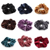 Fancyleo 2 Pack /9pack Hair Scrunchies Large Women's Satin Solid Color Hair Scrunchies Hair Bow Assorted Hair Accessories Ponytail Holder