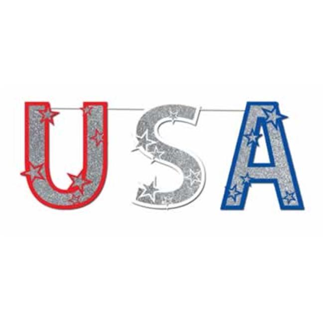 Beistle - 50997 - Glittered USA Streamer- Pack of 12