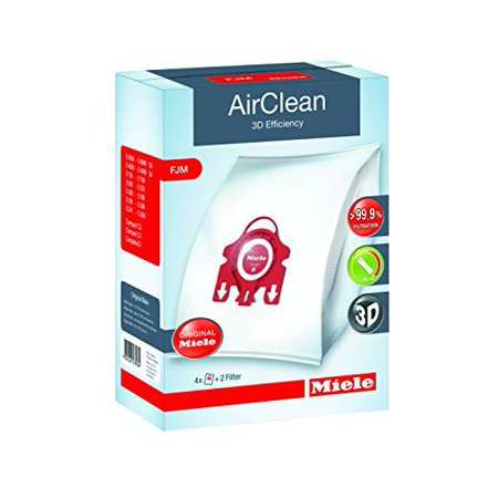 Miele AirClean 3D Efficiency Dust Bag, Type FJM, 4 Bags & 2