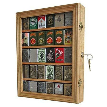 Lockable Cigarette/Sport Lighter Display Case Wall Cabinet Shadow Box LC30 (Oak)