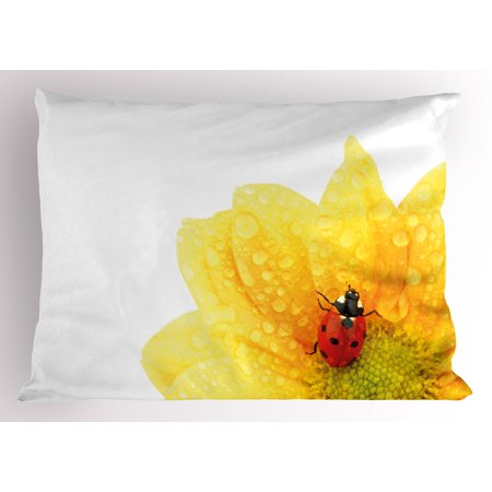 Yellow Flower Pillow Sham Cute Little Ladybug on Gerbera Wet Petals Water Drops Fresh Garden, Decorative Standard Size Printed Pillowcase, 26 X 20 Inches, Yellow Vermilion, by Ambesonne](Yellow Lady Bug)